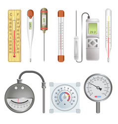 Thermometers for atmosphere and human body vector