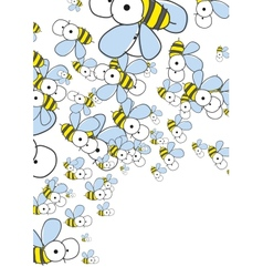 White background with bees spring background vector