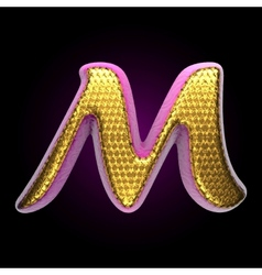 Golden and pink letter m vector
