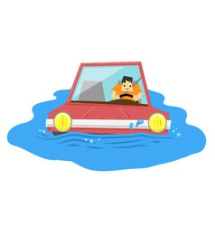 Submerged car vector