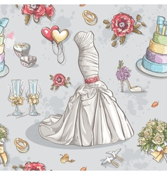 Seamless texture with the image of wedding dresses vector
