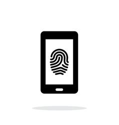 Phone fingerprint icon on white background vector