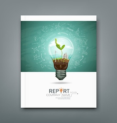 Cover annual report green seedlings light bulb vector