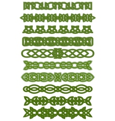 Green celtic knots ornaments vector