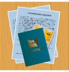 Travel documents set for cat vector
