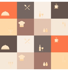 Seamless background with restaurant symbols vector