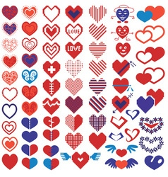 Heart different icons vector