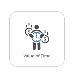 Value of time icon flat design vector
