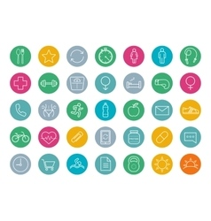 Fitness color linear icons set vector