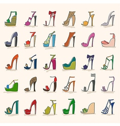 Hand drawn set of various types of female shoes vector
