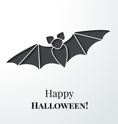 Black cutout bat halloween card or background vector
