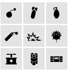 Black bomb icon set vector