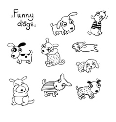 Funny dogs in the snow vector