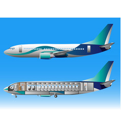 airplane outside and inside vector image