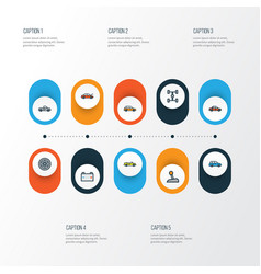 Auto colorful outline icons set collection of vector