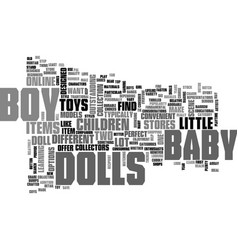 Baby boy dolls text word cloud concept vector