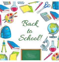 back to school poster of school supplies sketches vector image vector image