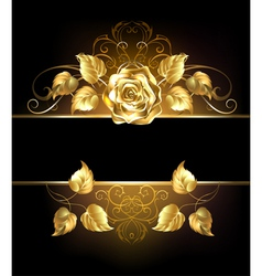 Banner with golden rose vector