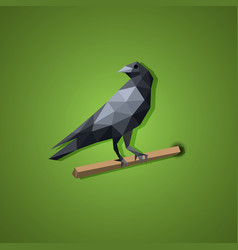 Black raven bird in low polygon art vector