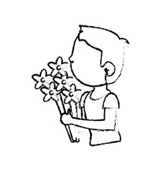 Boy son with bunch flower vector