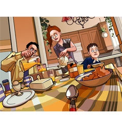 cartoon family breakfast table vector image vector image