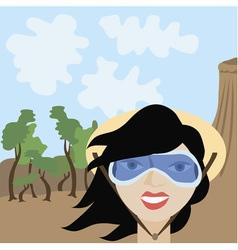 Cartoon of tourist girl vector image vector image