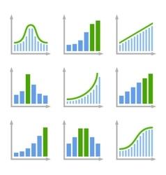 Charts Diagrams and Graphs Flat Icons Set vector image