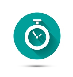 Clock icon on green background with long shadow vector image