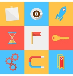 Flat icons for target of outsourced vector