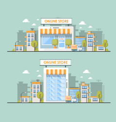 flat of online shop in city vector image