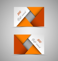 Gift card with abstract orange triangles template vector image vector image