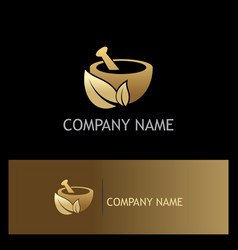 gold mortar traditional organic logo vector image