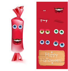 halloween emoji face character alive candy monster vector image vector image