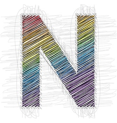 Hand draw font letter n vector