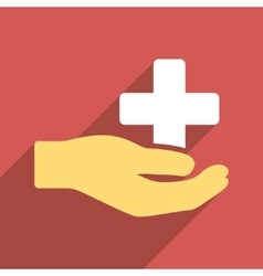 Health care donation flat square icon with long vector