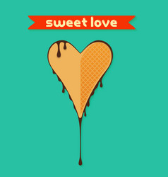Heart shaped waffles sweet love in chocolate vector
