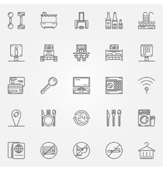 Hotel linear icons vector