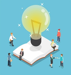 Isometric light bulb over an open book vector image vector image