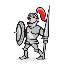 Knight shield holding lance cartoon vector