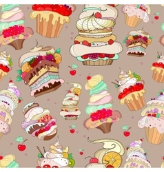 pattern with the image of the fantastic cakes vector image