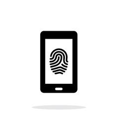 Phone fingerprint icon on white background vector