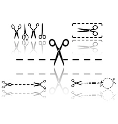 scissors and dotted line set with reflection vector image vector image