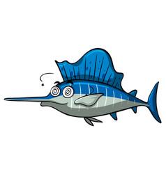 Swordfish with dizzy face vector