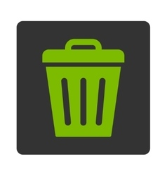 Trash Can flat eco green and gray colors rounded vector image vector image