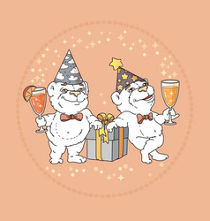 two cute bears in party hats on rose background vector image vector image