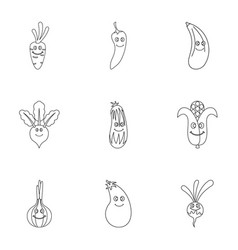 vegetables character icon set outline style vector image