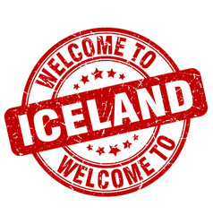 Welcome to iceland red round vintage stamp vector