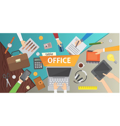 Workplace office table work in a team modern vector
