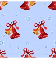 Christmas background with bells and snowflakes vector