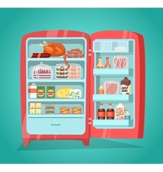 Refrigerator full of food in flat design vector
